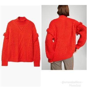 Mango Mock Neck Cable Knit Fringe Sweater Orange